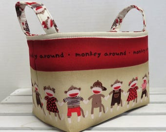 Fabric Organizer Storage Bin Container Basket - Monkey Around - Stripe Fabric