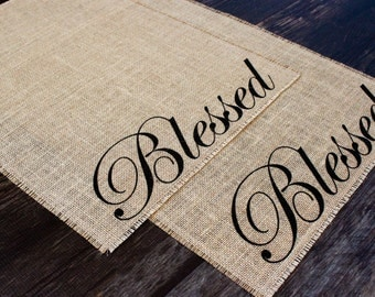 Blessed burlap placemat with side script
