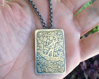 Ancient Mariner Sterling and Etched Bronze Pendant