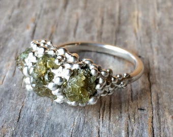 Olive green natural PERIDOT pebble ring rough crystals in tiny bubbles of sterling silver ring ooak sample sale size 6 1/4