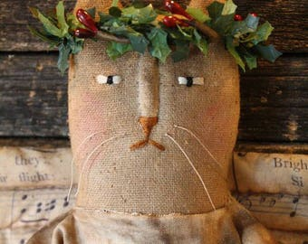 Primitive Folk Art Christmas Miss Holly Angel Cat Doll E-Pattern
