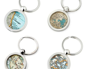 Map KeyChains for Everyone  Made to Order Your City Fob Key Ring   Set of 4 at a Special Price   Key Rings Free Shipping Family