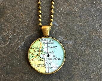 Map Necklace Dublin Ireland  Bold Bronze Loop Style Vintage Atlas