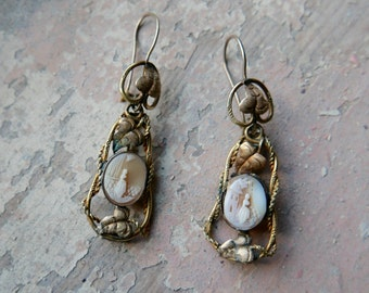 Antique Victorian Cameo Earrings
