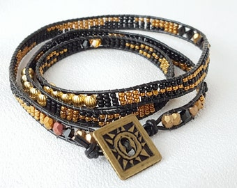 It's a Wrap - Black, Bronze and Antique Gold Beadwoven Wrap Bracelet
