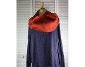 ON SALE Chunky Infinity Boho Loop Circle Scarf -Rosa Orange Linen w/ Leaf Art  Hand printed Scarves  Ready to Ship