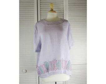 Spa Top - Wisteria Purple Hanky Linen w/ Flower Art XL Ready to Ship