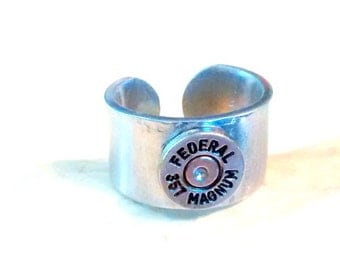 Federal 357 magnum  bullet casing finger ring casing ring cuff style size  brushed