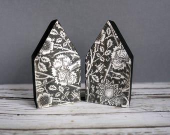 Monochrome mixed media art little wood houses. Black & white floral. Original, modern 5th wedding anniversary gift