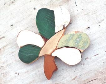 Mosaic Shamrock, Reclaimed Wood Art, Green Irish Decor, Rustic Wood Decor, Celtic Home Decor, Distressed Wall Art, Shamrock Wall Art