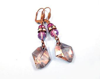 Crystal Drop Earrings, Smokey Topaz and Purple Luster, Brass Dangle Earrings, FREE Shipping U.S.