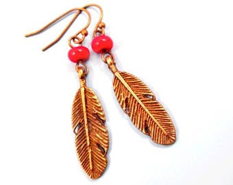 Brass Feather Earrings, Bright Red Glass Beads and Brass Feather Charms, Dangle Earrings, FREE Shipping U.S.