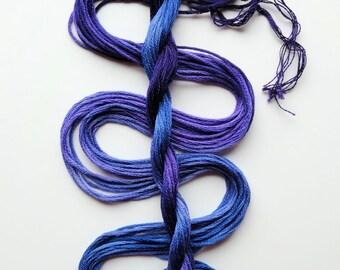 "Embroidery floss ""Hydrangea Dark"" hand dyed cotton"