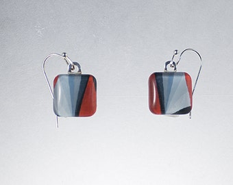 Pastel Drawing Glass Tile Earrings