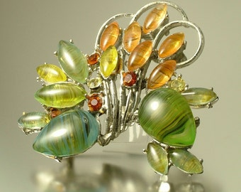 Vintage, estate large 1950s/ 60s signed Exquisite, glam, pale Green yellow paste rhinestone, flower costume brooch / pin - jewelry jewellery