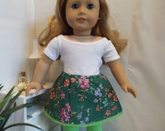 Green Floral Skirt and Matching Leggings--Fits 18 Doll LIKE American GIrl