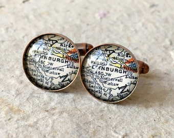Edinburgh Map Cufflinks Cuff links - YOU PICK your map - Choose from 25 maps - featuring Falkirk, Berwick, Glasgow, Motherwell, and more