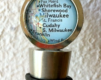 Milwaukee Map Wine Stopper Stainless Steel - PICK your favorite from 25 choices - Featuring Whitefish Bay, Cudahy, Racine, Madison, and more