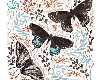 Swallowtail Butterfly Art Print - square digital illustration by Stephanie Fizer Coleman