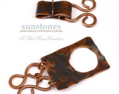 Handmade Rustic Copper Toggle Clasp - Double Strand, Focal piece TC600