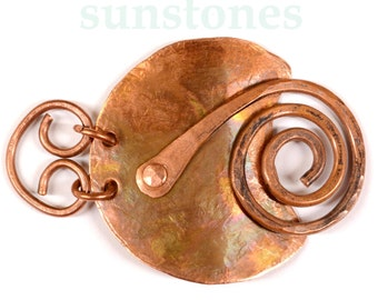 Hand Forged Rustic Copper Bracelet Focal Component or Pendant Component, DIY Jewelry Making JC660