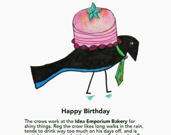 Happy Birthday Idea Emporium Whimsical Crow Postcard