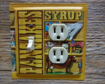 Americana Decor Lighting Aunt Jemima Tins Pancakes Syrup Outlet Light Fixture Switch Plate Combo Cover Made