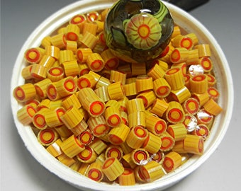 Murrini Chips COE 104 MARIGOLD murrine glass can be used with torch fired copper enameling