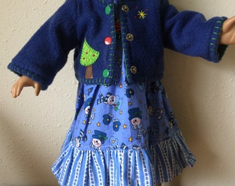 Christmas tree and Snowmen Dress and Jacket set for 18 inch dolls