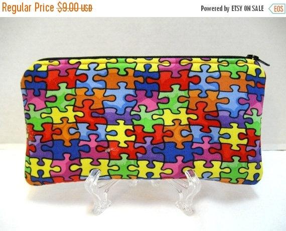 Anniversary Sale Autism Zipper Pouch -  Puzzle Pieces Gadget Case - Autism Cash Holder - Autism Support - Puzzle Padded Pouch