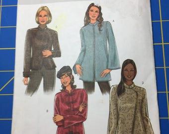 Butterick B4294 women's PETITE jacket pattern uncut mandarin collar sleeve and closure variation