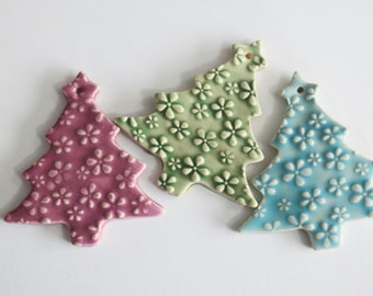 RESERVED for BETH - Pottery Ornaments, Set of 3, Handmade Christmas Tree Decoration Ornaments, Gift box included