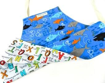 Kids Gift Under 30, Kids Apron, Toddler Apron, Reversible Apron, Sharks, Toddler Boy, Children's Apron, Kids Art and Craft, Alphabet