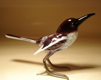 Handmade  Blown Glass Figurine Art MAGPIE Bird Figure