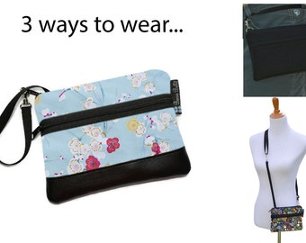 Cell Phone Purse - Fanny Pack or Wristlet - Cell phone Cross body Bag - Small Cross body Purse - Long Zip Bag- Blue Fabric