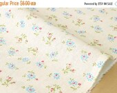 Japanese Fabric - Yuwa Daisy and Rose - blue, red, green on cream - 50cm