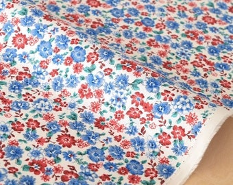 Japanese Fabric Pretty Floral - red, white, blue - 50cm