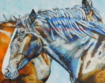 "Original Horse Friends Oil Painting 18""x24"" painted by knife Spencer"