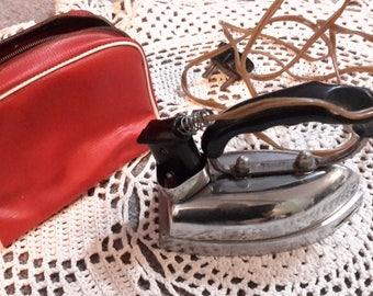 Vintage travel iron, iron press, old irons, laundry supplies, clothes mini iron