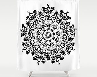Shower Curtain, Black And White, Art Shower, Mandala Curtain, Fabric Shower, Art Shower Curtain, Boho Shower Curtain, White Shower