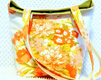 Vintage 70s Fabric Purse Handbag, Kitsch Floral Large Satchel Bag, Handmade Shabby and Chic Carryall Tote, Retro Tote Bag