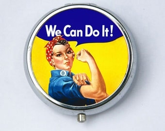 Rosie the Riveter Pill case pillbox pill holder Americana WWII