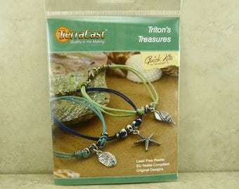 Triton's Treasures Bracelet - TierraCast Quick Kit - Ocean Beach Summer Sea Shell - American Made Lead Free Pewter - I ship Internationally