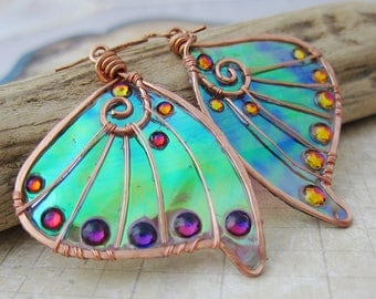 Sihaya Designs Faery Wing Earrings - The Elf Queen - Iridescent Fairy Wing Jewelry