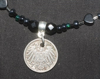 Vintage German Eagle Coin Necklace - 1907 - strength - pagan, Wicca, witchcraft