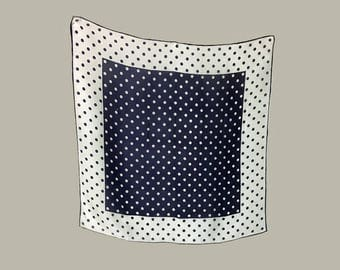Vintage Scarf, Head Scarf, Neck Scarf, 1960's, Navy and White, Dots, Polka Dot, Square