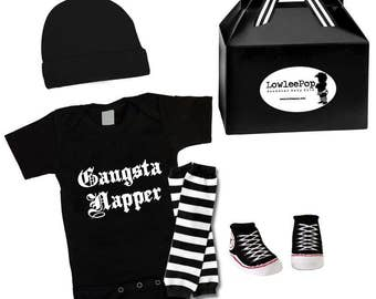 Rockstar Baby Kit Gangsta Napper onesie hat leg warmers and sneaker booties