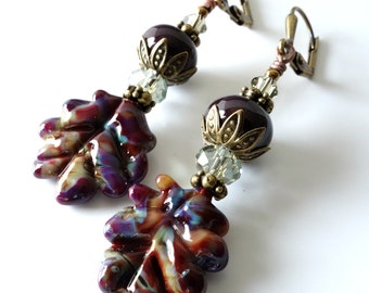 Lampwork Leaf Earrings, Deep Plum, Burgandy, Orange, Green, Crystals, Fall, Autumn Beaded Earrings, Leaves, Antique Brass, OOAK Jewelry
