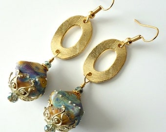 Lampwork Bicone Earrings, Brushed Gold Earrings, Golden Yellow, Earthtones, Aqua, Lavender, Wine, Crystals, Beaded Jewelry, Beaded Earrings