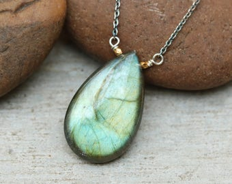 Labradorite teardrop cabochon pendant necklace with oxidized silver chain
